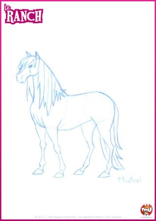 Coloriage: imprime gratuitement ce super coloriage de Mistral, le cheval de Léna sur TFou.fr ! Et décore-le selon tes envies !