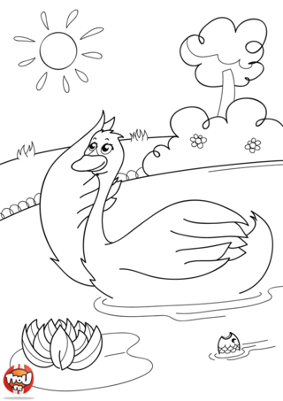 Coloriage: Cygne sur les flots