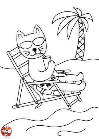 Coloriage: Les vacances du chat