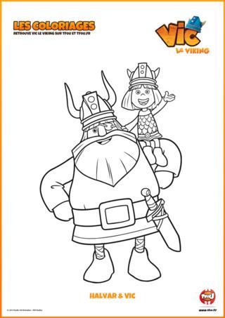 Voici un super coloriage à imprimer d' Halvar et Vic, le héros de la série pour enfant Vic le Viking. Halvar est le père de Vic. C'est le chef de clan du village de Flake, dans laquelle ils vivent. Vic est un jeune viking chétif qui part avec son père en expédition pour l'aider à résoudre les conflits grâce à son intelligence, son ingéniosité et sa malice. Amuse-toi à mettre des couleurs sur ce coloriage gratuit.