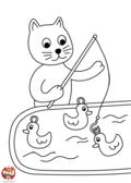 Chat pêche à la ligne