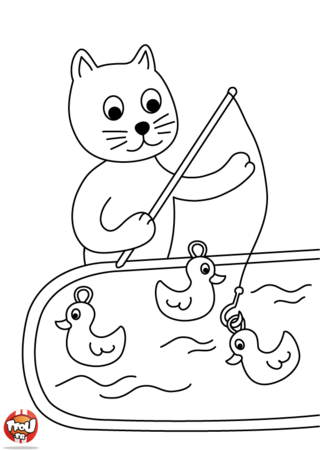 Coloriage: Chat pêche à la ligne