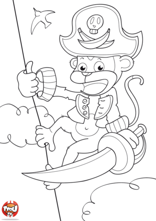 Coloriage: Singe pirate