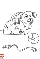 Coloriage chien dans un sac