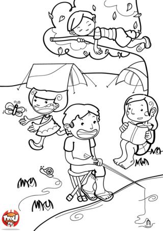 Coloriage: Une journée au camping