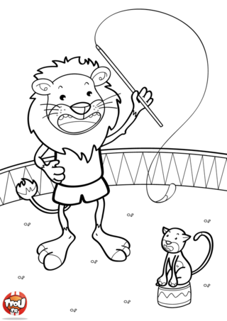 Coloriage: Le lion dompteur