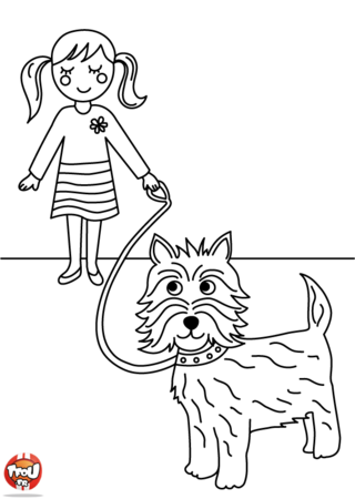 Coloriage: Petite fille et chien
