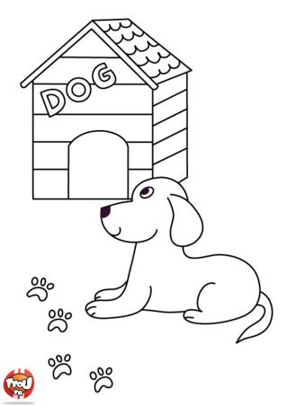 Coloriage : un chien devant sa niche