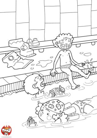 Coloriage: Au bord de la piscine