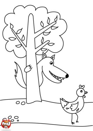 Coloriage: Le loup et la poule