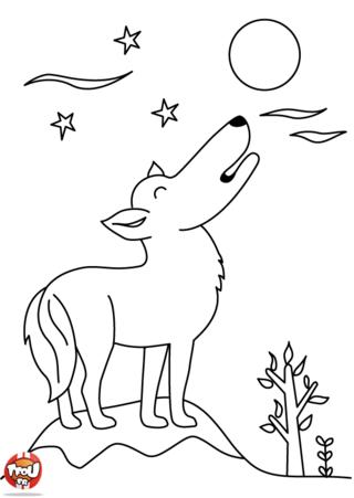Coloriage: Un loup sous la lune