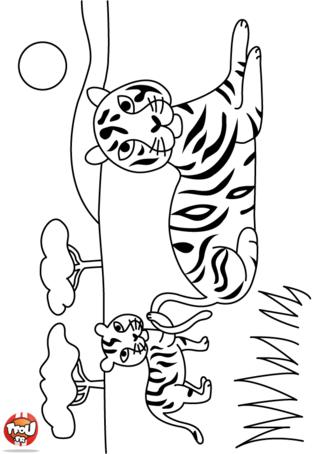 Coloriage: Maman tigre et son petit