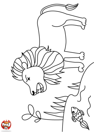 Coloriage: Le lion au bord de la marre