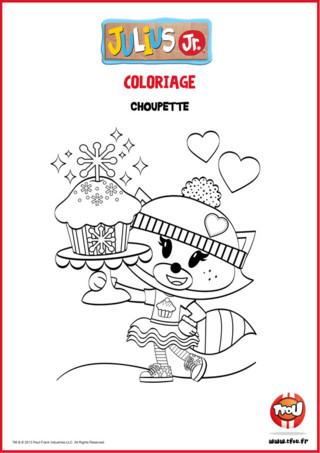 Choupette, l'amie de Julius Jr a fait des cupcakes ! Imprime gratuitement ce coloriage TFou.fr et amuse-toi à colorier la jolie Choupette et son gâteau ! Ca fera un joli dessin à colorier pendant les vacances de Noël !
