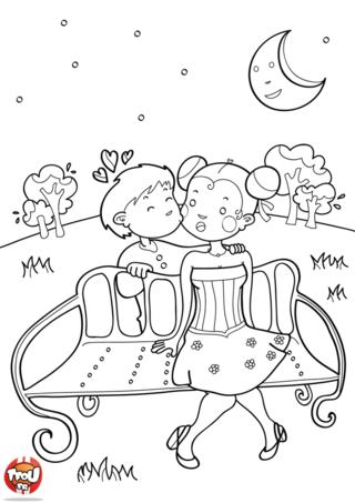 Ce n'est pas toujours facile de déclarer son amour à l'élu(e) de son coeur. Imprime ce coloriage si romantique de ces petits amoureux timides. Tu peux offrir ce coloriage pour la Saint Valentin.