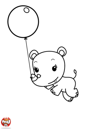 Coloriage: Lulu et son ballon