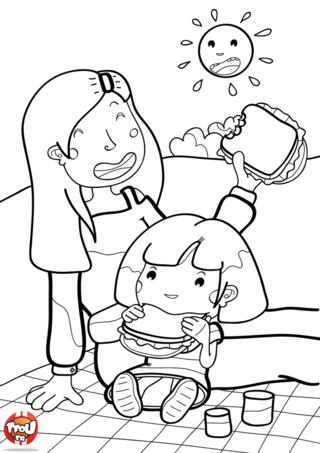 Coloriage: Pique nique avec maman