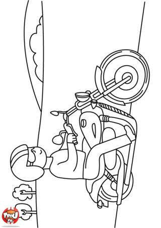 Coloriage: Un motard à lunettes