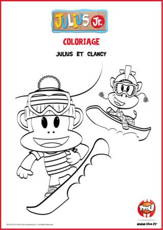 Julius Jr et Clancy font du snowboard cet hiver ! Tu aimes bien ce coloriage ? Imprime-le gratuitement sur TFou.fr pour pouvoir le colorier chez toi, et tu pourras même l'accrocher dans ta chambre ou l'offrir à tes parents ! C'est un super coloriage de la série Julius Jr !