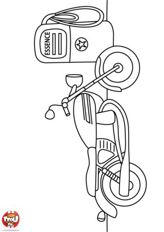 Coloriage: Une moto à la pompe