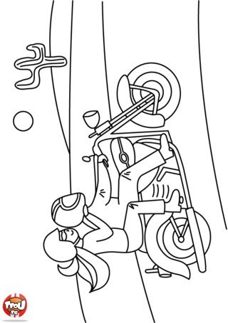 Coloriage: Un couple à moto