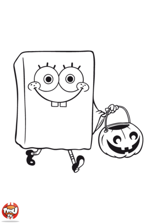 Coloriage: Bob l'éponge à Halloween