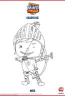 Mike le chevalier - coloriage Mike et son arc