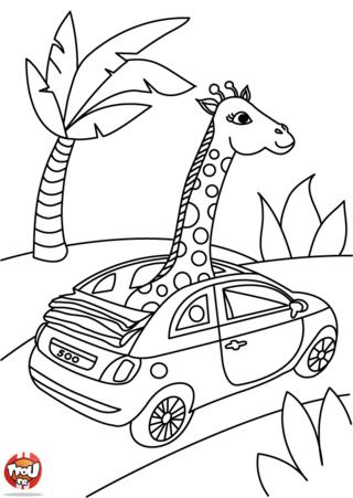 Coloriage: Une girafe en voiture