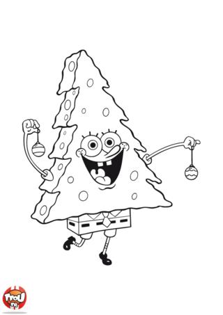 Coloriage: Bob l'éponge en sapin de Noël