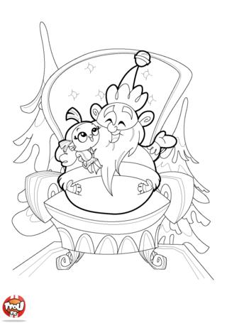 Coloriage: Avec le père Noël