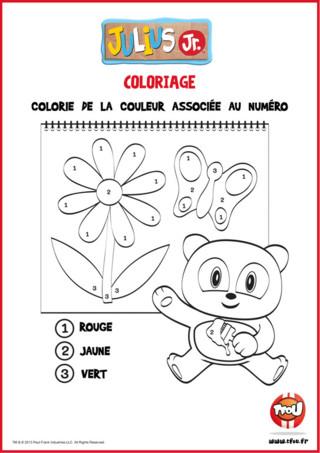 Amuse-toi avec ce coloriage magique Julius Jr, avec Ping, le héros de la série ! C'est très amusant ! Colorie de la couleur du numéro ça te fera un très joli dessin ! Tu peux imprimer gratuitement ce joli coloriage de Julius Jr sur TFou.fr ! En plus, tu vas apprendre en coloriant c'est top !