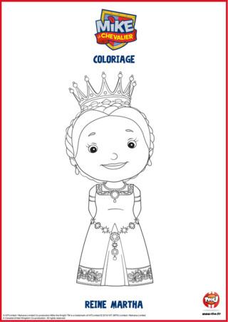 Mike le chevalier, du haut de ses 10 ans, apprend à devenir un chevalier. Mais ce n'est pas si facile. Heureusement que sa maman, la Reine Martha est là pour l'aider. Imprime le coloriage de la Reine Martha et colorie-le comme tu veux sur TFOU.fr.