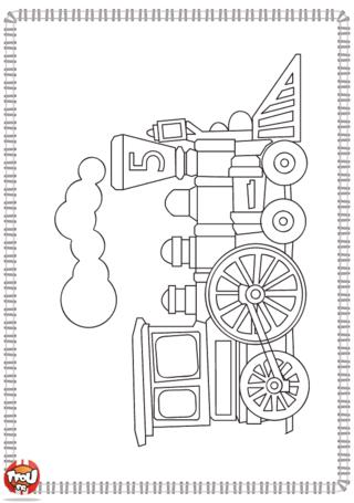 Activité : Coloriage train. Imprime ce dessin de train et amuse-toi à le décorer en le coloriant ou en collant des gomettes.