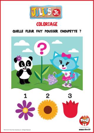 Tu aimes les fleurs ? Alors à ton avis, quelle fleur fait pousser Choupette dans son jardin ? Choisis la fleur que tu préfères et amuse-toi avec Julius Jr sur TFou.fr ! Tu peux imprimer ton activité et t'amuser à dessin la fleur de ton choix si tu veux !