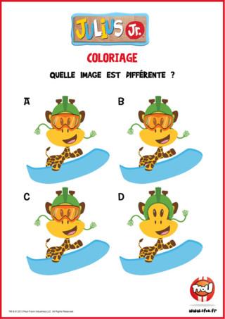Clancy fait du snowboard ! Parmi ces 4 images, une image est différente, sauras-tu la reconnaître ? Imprime cette activité Julius Jr et joue avec tes héros préférés TFou.fr ! Tu peux même montrer ce jeux à tes copains pour qu'ils s'amusent aussi à trouver l'image différente !