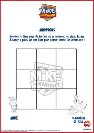 Imprime la grille du jeu du morpion avec Flammèche et Azul de la série Mike le chevalier. Joue vite au jeu et tu pourras même colorier tes héros préférés. A toi de jouer !