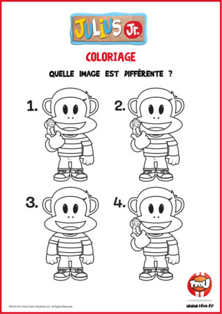 As-tu le sens de l'observation ? Imprime gratuitement cette activité pour enfant et trouve la solution. Parmi ces 4 images de Julius Jr, trouve l'intrus, celle qui est différente des autres. Une super activité pédagogique qui te permettra d'apprendre en t'amusant avec tes héros TFOU ! Alors ? Tu as la réponse ? Partage cette activité avec tes amis et découvre plein d'autres jeux intelligents sur TFou.fr !