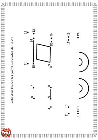 Activité : Point par point. Découvre vite ce qui se cache derrière ce point par point. Relie les points les uns aux autres pour découvrir le dessin caché.