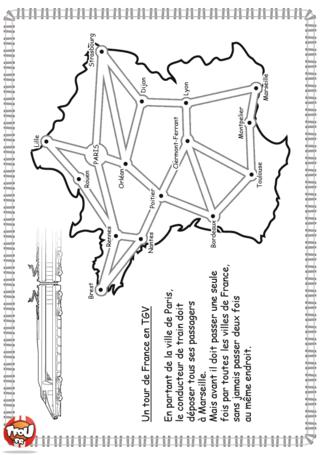 Activité : Labyrinthe TGV. Imprime vite ce labyrinthe et aide le conducteur du TGV à déposer tous les voyageurs dans leurs villes respectives.