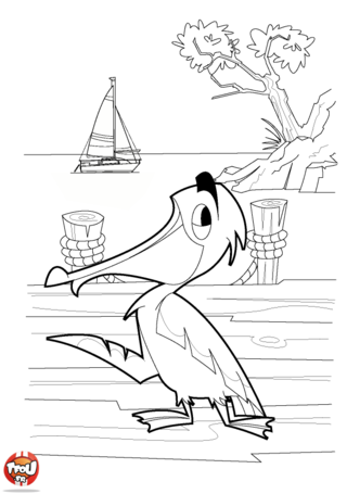 Coloriage: Pélican au bord de la mer