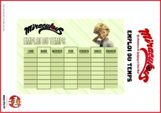 Imprime ton emploi du temps Miraculous gratuitement sur TFou.fr ! Tu pourras inscrire toutes tes activités de la semaine dessus ! C'est super ! Adrien est un élève studieux, grâce à cet emploi du temps tu pourras l'être aussi!
