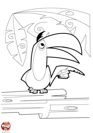 Coloriage: Toucan dans un arbre