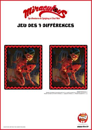 Joue avec Miraculous et Lady Bug et trouve les 7 différences entre les 2 images. Pour jouer, imprime gratuitement le jeu sur TFou.fr et amuse-toi à trouver les différences sur ces 2 images de Lady Bug.