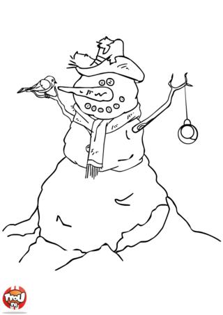 Coloriage: Bonhomme de neige décoré