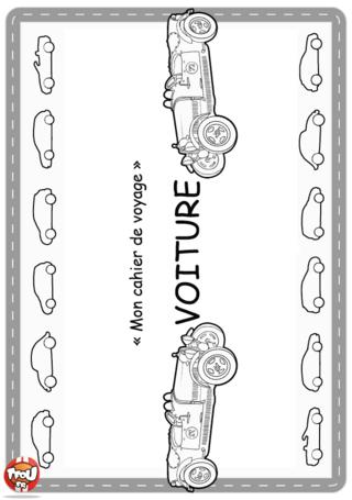 Activité : Couverture Voiture. Imprime vite la couverture de ton cahier de voyage ! tu peux y ajouter des gomettes ou de la couleur pour le décorer.