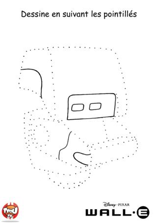 Coloriage: Robot en pointillés
