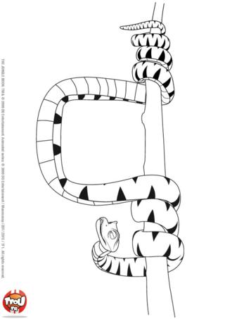 Coloriage: Kaa sur une branche