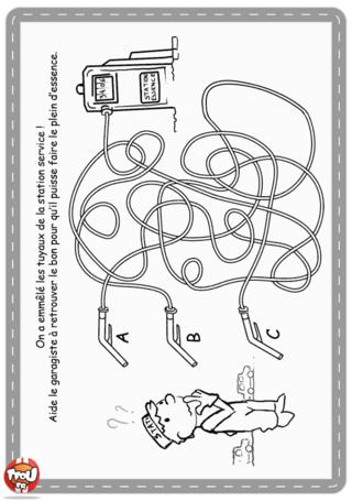 Activité : Labyrinthe voiture. Imprime ton labyrinthe et aide le garagiste à retrouver le bon tuyau de la station essence pour pouvoir faire le plein d'essence.