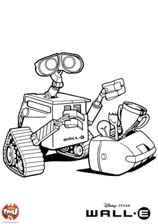 Coloriage: WALL.E et sa boîte