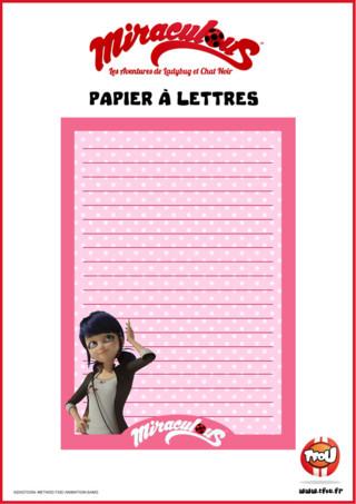 Tfou te propose ce beau papier à lettres Miraculous ! Imprime gratuitement le papier à lettres avec Marinette sur TFou ! Tu pourras t'en servir pour écrire des lettres à tes amis ou à ta famille ! En plus il est joli, aux couleurs de ta série Miraculous !
